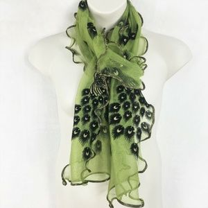 Green Black Gold Sheer Peacock Scarf